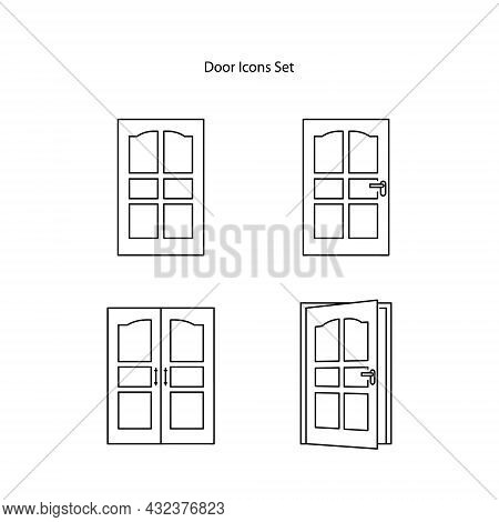 Door Icons Isolated On White Background. Door Icons Thin Line Outline Linear Door Symbol For Logo, W