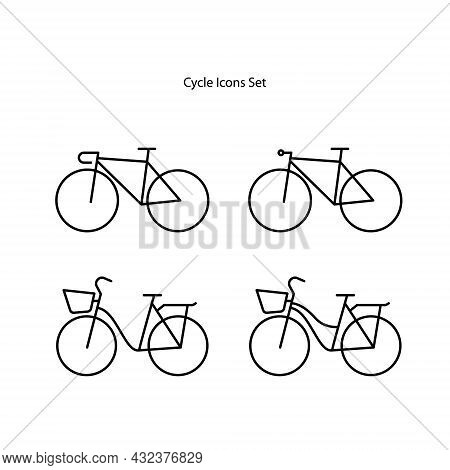 Cycle Icons Set Isolated On White Background. Cycle Icon Thin Line Outline Linear Cycle Symbol For L