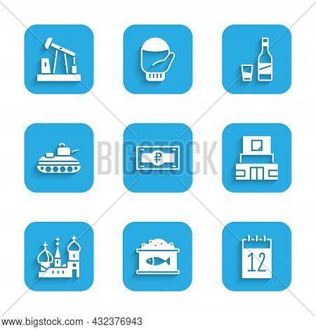 Set Russian Ruble Banknote, Tin Can With Caviar, Calendar 12 June, Mausoleum Of Lenin, Saint Basils