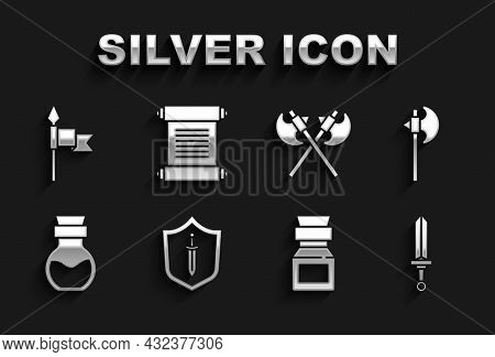 Set Medieval Shield With Sword, Axe, Poison In Bottle, Crossed Medieval Axes, Spear And Decree, Parc