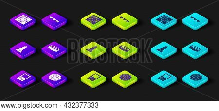 Set Tetris, Checker Game Chips, Chess, Hearts For And Board Of Checkers Icon. Vector