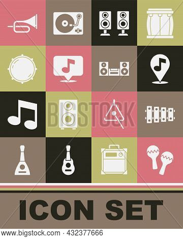Set Maracas, Xylophone, Location Musical Note, Stereo Speaker, Musical, Dial Knob Level, Trumpet And