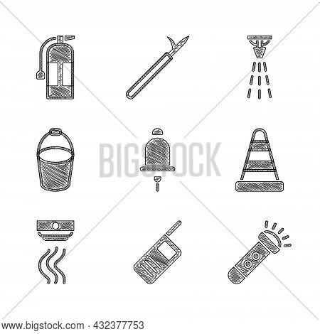 Set Ringing Alarm Bell, Walkie Talkie, Flashlight, Traffic Cone, Smoke System, Fire Bucket, Sprinkle