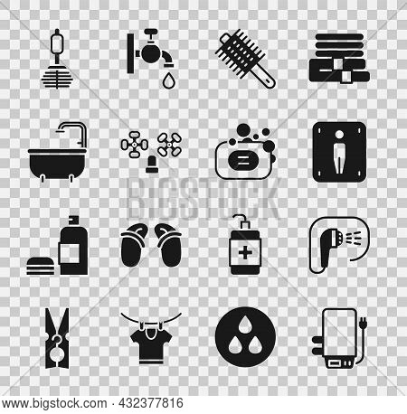 Set Electric Boiler, Shower, Male Toilet, Hairbrush, Water Tap, Bathtub, Toilet And Bar Of Soap Icon