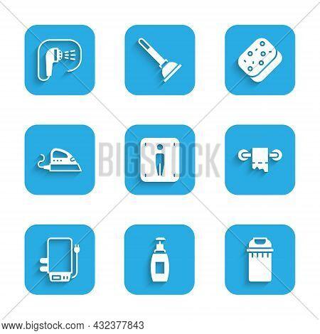 Set Male Toilet, Bottle Of Liquid Soap, Trash Can, Toilet Paper Roll, Electric Boiler, Iron, Sponge
