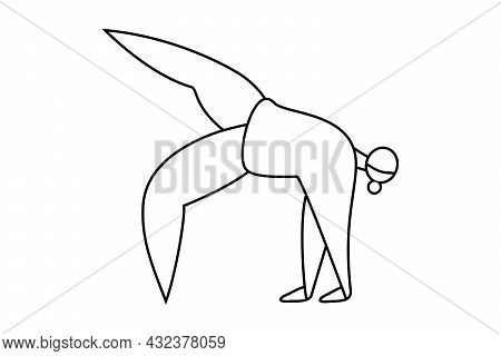 Linear Contour Of A Plus Size Woman Does Yoga. Black Outline On White. Concept Of Balance, Healthy L