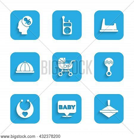 Set Baby Stroller, Whirligig Toy, Rattle Baby, Bib, Hat, Potty And Dummy Pacifier Icon. Vector