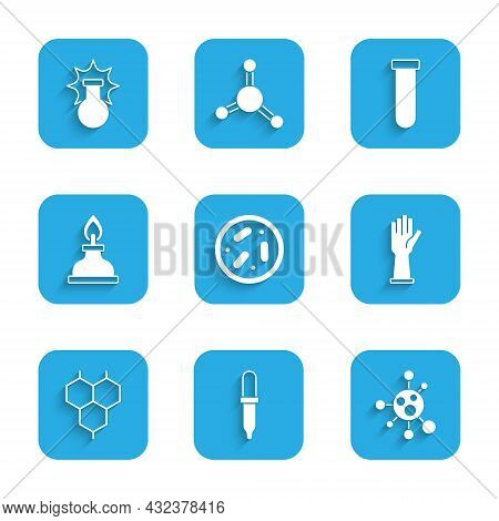 Set Petri Dish With Bacteria, Pipette, Molecule, Medical Rubber Gloves, Chemical Formula, Alcohol Sp