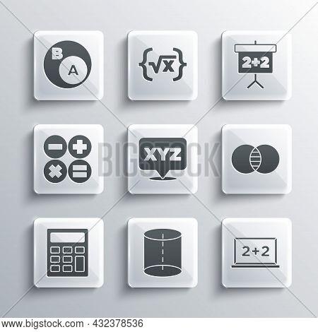 Set Geometric Figure, Chalkboard, Mathematics Sets A And B, Xyz Coordinate System, Calculator, Subse