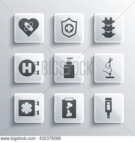 Set X-ray Shots, Digital Thermometer, Microscope, Hand Sanitizer Bottle, Medical Symbol Of Emergency