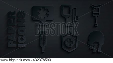Set Life Insurance In Hand, Crutch Or Crutches, Medical Thermometer, Sore Throat, Iv Bag And Symbol