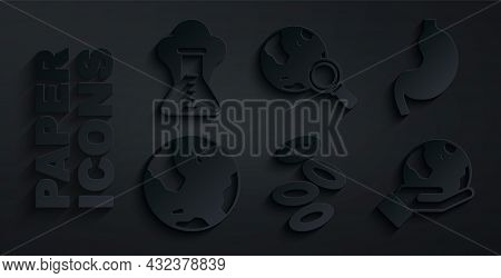 Set Hemoglobin, Human Stomach, Earth Globe, Hand Holding, Magnifying Glass With And Chemical Explosi