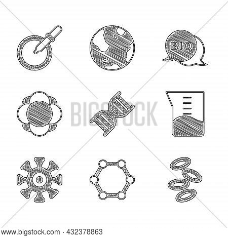 Set Dna Symbol, Molecule, Hemoglobin, Laboratory Glassware Or Beaker, Bacteria, Bio Healthy Food And