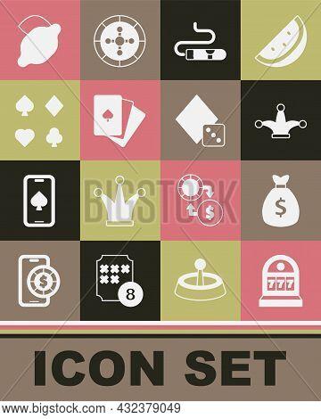 Set Slot Machine With Jackpot, Money Bag, Joker Playing Card, Cigar, Deck Of Cards, Casino Slot Lemo