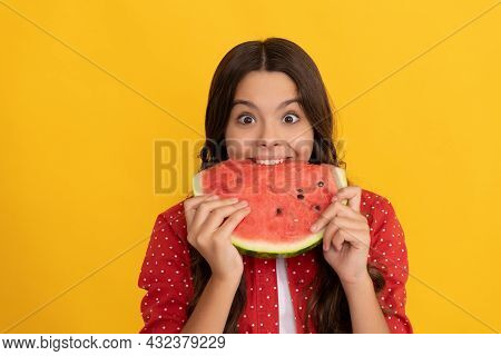 Hungry Kid With Fruit. Healthy Food For Children. Fructose Healthy Eating On Summer Vacation