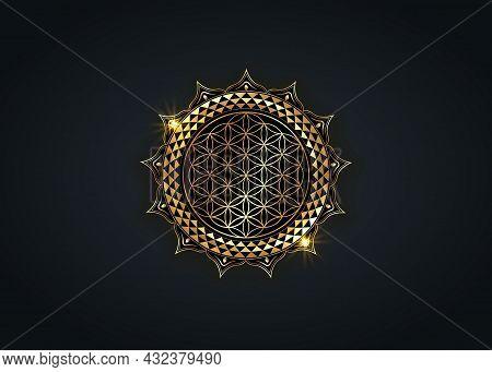 Flower Of Life, Yantra Mandala In The Lotus Flower, Sacred Geometry. Bright Golden Luxury Symbol Of