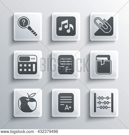 Set Exam Sheet With A Plus Grade, Abacus, Book, Paper Incorrect Answers, Apple, Calculator, Unknown