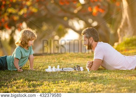 Fathers Day. Happy Family. Parenthood And Childhood. Checkmate. Spending Time Together.