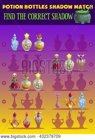 Potion Bottles Shadow Match Kids Game With Magician Flasks. Find Correct Shadow Children Logic Activ