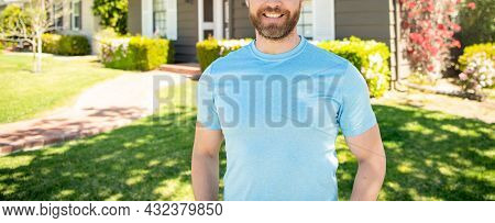 Copped Guy Standing Near House, Ownership Concept