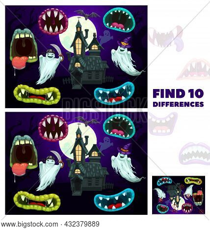 Kids Find Differences Game With Halloween Cartoon Monsters Maws. Children Playing Activity, Exercise