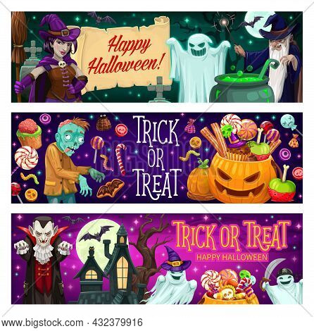 Halloween Party Cartoon Vector Banners. Witch Hold Broom, Jack-o-lantern Pumpkin With Trick Or Treat