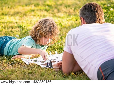 Checkmate. Spending Time Together. Strategic And Tactic. Tutorship. Daddy And Kid