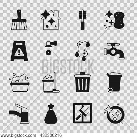 Set Washing Dishes, Trash Can, Water Tap, Toilet Brush, Air Freshener Spray Bottle, Wet Floor, Handl