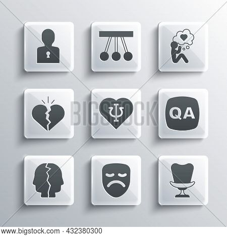 Set Drama Theatrical Mask, Armchair, Question And Answer, Psychology, Psi, Bipolar Disorder, Broken