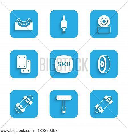 Set Skateboard, T Tool, Longboard Or Skateboard, Ball Bearing, Knee Pads, Wheel And Park Icon. Vecto