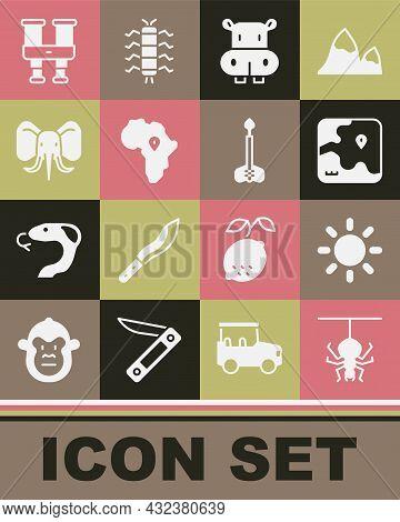 Set Spider, Sun, Africa Safari Map, Hippo Or Hippopotamus, Map Of, Elephant, Binoculars And Arrow Ic