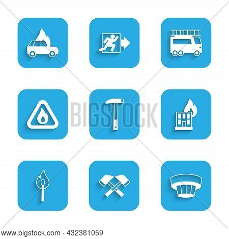 Set Firefighter Axe, Smoke Alarm System, In Burning Building, Burning Match With Fire, Flame Triangl