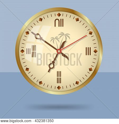Ancient Egypt Style Decorative Wall Clock. Isolated Monochromatic Background. Vector Illustration