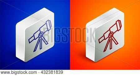 Isometric Line Telescope Icon Isolated On Blue And Orange Background. Scientific Tool. Education And