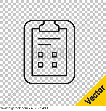 Black Line Exam Sheet With Check Mark Icon Isolated On Transparent Background. Test Paper, Exam, Or