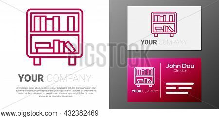 Logotype Line Shelf With Books Icon Isolated On White Background. Shelves Sign. Logo Design Template