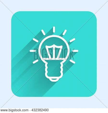 White Line Light Bulb With Concept Of Idea Icon Isolated With Long Shadow. Energy And Idea Symbol. I