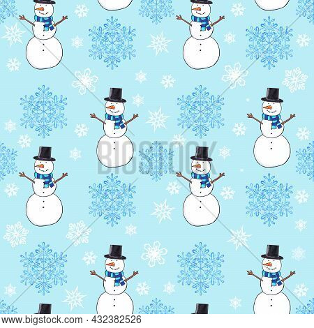 Winter Seamless Pattern Of Happy Snowmen, Christmas Baby Blue Background
