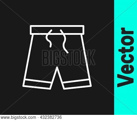 White Line Swimming Trunks Icon Isolated On Black Background. Vector