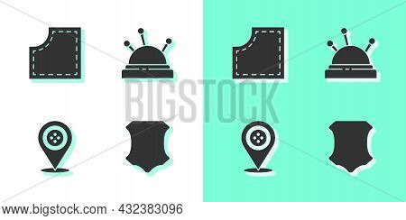 Set Leather, Sewing Pattern, Location Tailor Shop And Needle Bed And Needles Icon. Vector