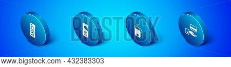 Set Isometric Remote Control, Towel Hanger, Digital Door Lock And Please Not Disturb Icon. Vector