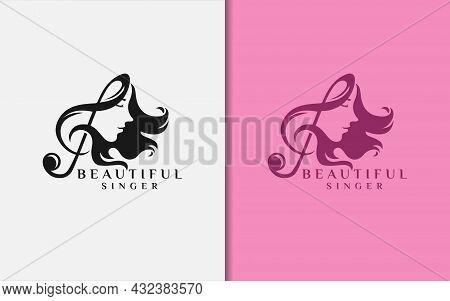 Beautiful Women Singer Logo Design With Music Chord Combination Style Concept. Graphic Design Elemen