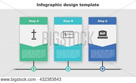 Set Grave With Cross, Beat Dead In Monitor And Tombstone Rip Written. Business Infographic Template.