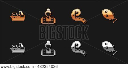 Set Fishing Boat, Fisherman, Octopus Of Tentacle And Tropical Fish Icon. Vector