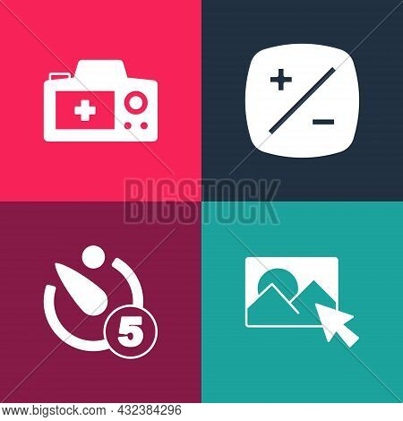 Set Pop Art Photo Retouching, Camera Timer, Exposure Compensation And Camera Icon. Vector