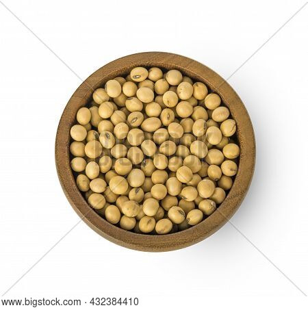 Top View Of Soybeans In Wooden Cup Isolated On The White Background