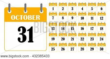Yellow Calendar October. Calendar Template. Planner Diary. Business Organizer. Vector Illustration.