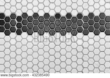 Pattern Clean Grid Uneven Design. Black And White Ceramic Tiles Texture Background. Black And White