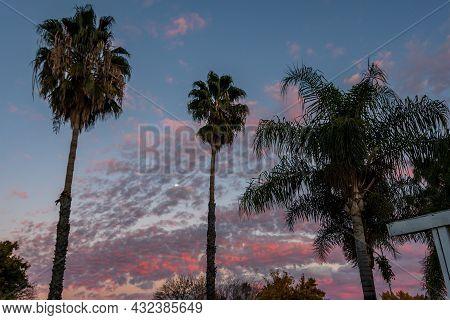 Dramatic Vibrant Sunset Scenery In Lake Elsinore, California