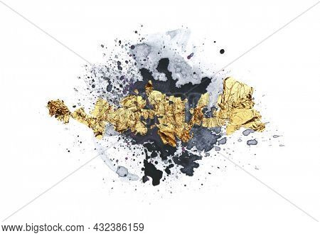 Black Art Watercolor flow blot with drops splash and gold elements. Abstract texture color stain on white background.